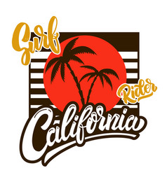 california surf rider poster template with vector image
