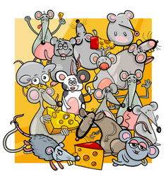 Cartoon mice and rats with cheese vector