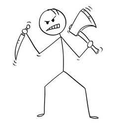 cartoon of mad killer or murderer with axe and vector image