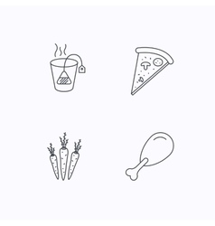Chicken leg pizza and soft tea bag icons vector image