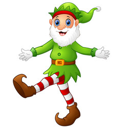 Christmas old elf dancing vector