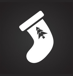 Christmas stocking icon on black background for vector