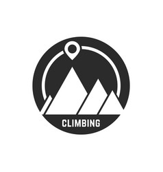 Climbing logo with map pin vector