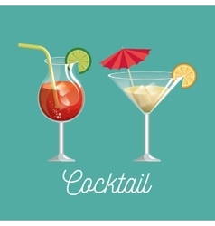 Cocktail glass with lemon desing vector