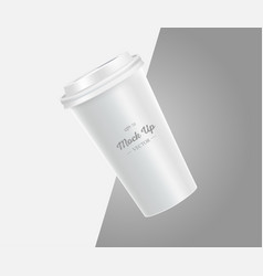 Coffee cup mockup on grey and white background vector