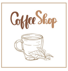 Coffee shop hand lettering design for menu poster vector