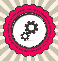 Cog - Gears Icon on Retro Paper Background vector image