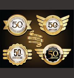 collection anniversary golden retro vintage vector image