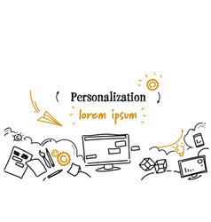 computer screen interface design personalization vector image