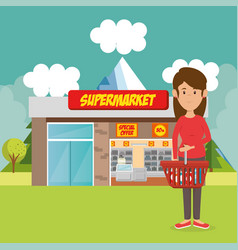 Consumer with shopping basket of groceries vector