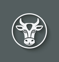 Cow head symbol vector