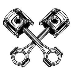 Crossed motorcycle pistons design element vector