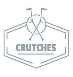 Crutches logo simple gray style vector