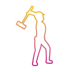 Degraded line pictogram laborer with mallet vector