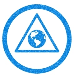 Earth Warning Rounded Icon Rubber Stamp vector