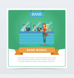 female client at the bank office bank works vector image