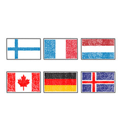 Flags of the world icon in cartoon scribble style vector