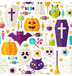 Flat Halloween Party Objects Seamless Pattern over vector