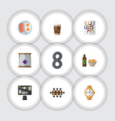 Flat icon oneday set of cappuccino beer with vector
