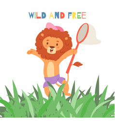 funny cartoon lion and wild and free inscription vector image