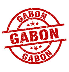 Gabon red round grunge stamp vector