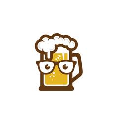 Geek beer logo icon design vector