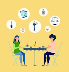 girls rest in a cafe women talking points in vector image