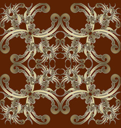 gold baroque seamless pattern dark red vector image