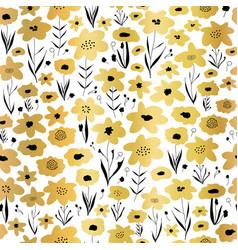 gold foil flower field seamless pattern vector image