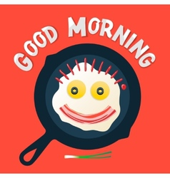 Good morning - smiling face make with fried eggs vector image