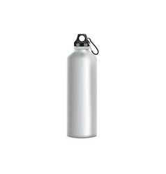 Grey sport bottle mockup realistic metal water vector