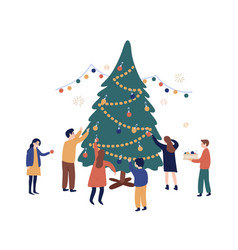 group friends decorating christmas tree vector image