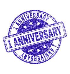 Grunge textured 1 anniversary stamp seal vector
