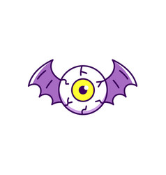 Halloween eye icon eye with bat wings colorful vector