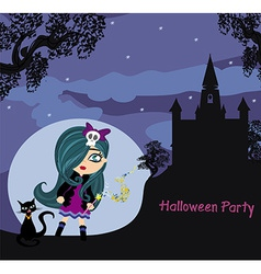 halloween invitation with beautiful witch and vector image