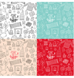 hand drawn seamless patterns with hygge elements vector image