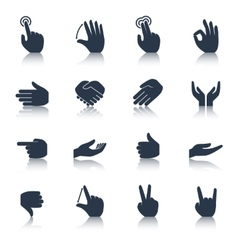 Hand icons black vector