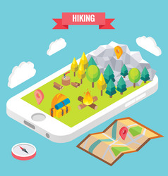hiking in a park isometric objects on mobile phone vector image vector image