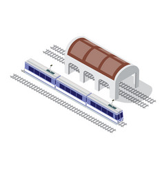 isometric high-speed train metro on the tracks in vector image