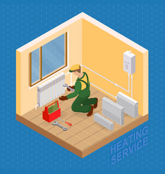 isometric interior repairs concept heating vector image