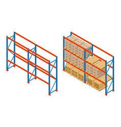 Isometric warehouse shelves with boxes and empty vector