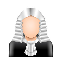 Judge wig isolated on white vector