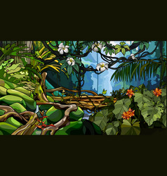 jungle background with thickets of tropical trees vector image
