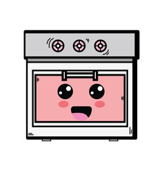 Kawaii cute happy oven technology vector