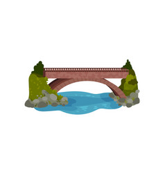 large bridge over river green bushes and grass vector image