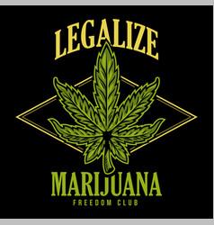 legalize marijuana print vector image