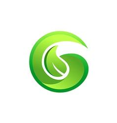 Letter G green leaf botany logo vector
