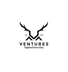 Letter v and deer horn logo design vector