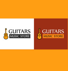Logo for music store with guitar vector