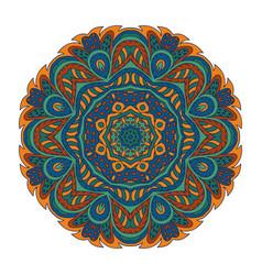 Mandala doodle drawing round ornament blue green vector